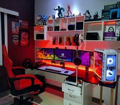 Video Gaming Area Setup Ideas: 5 Must-Haves for PC & Console Gamers - Home Like Art Gaming Desk Setup, Computer Gaming Room, Best Gaming Setup, Gamer Setup, Computer Setup, Pc Setup, Gaming Chair, Computer Technology, Gamer Bedroom