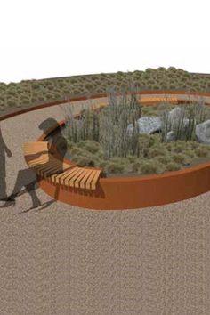 Straatmeubilair / parkmeubilair in cortenstaal (met zitbanken en plantenbakken)