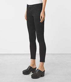 Womens Leah Biker Zip Jeans (Jet Black) - product_image_alt_text_2