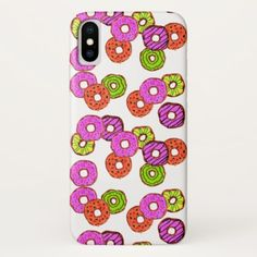 colorful frosted donuts doughnut with sprinkles iPhone x case - girly gifts special unique gift idea custom