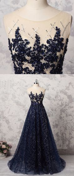 Navy blue sequins tulle long halter formal prom dress with appliques #prom #dress #promdress #promdresses
