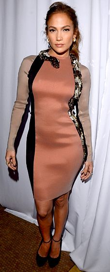J.lo in Lanvin embroidered snake dress