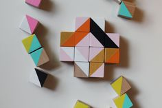 wooden cube blocks modern geometric sculpture art set metallic gold-pink-orange-blue-yellow -black and white