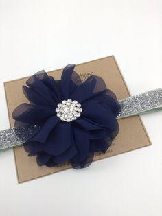 Navy & Silver Headband Blue Ballerina Flower by turniptots on Etsy