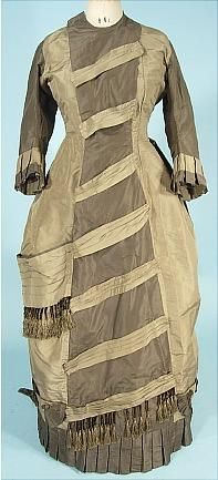 c. 1870s Princess Front Bustle Gown of Two-tone Sage Green Silk Taffetas with Tassel Trim One-piece Gown
