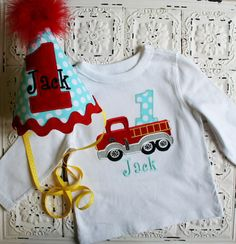 Firetruck Birthday shirt in red and blue by bebeboutiques on Etsy, $56.00