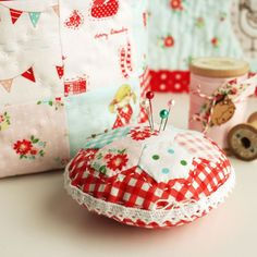 """hexagon pin cushion made with """"The Simple Life"""" fabric"""