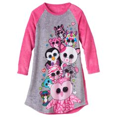 076f2513a39 Girls 4-12 TY Beanie Boos Plush Nightgown
