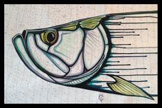 Tarpon painting on nautical chart by Carin Vaughn.