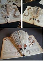 clara maffei: Book Sculpture -New tails experiment Old Book Crafts, Book Page Crafts, Book Page Art, Old Book Pages, Folded Book Art, Paper Book, Paper Art, Cut Paper, Paper Crafts