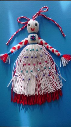 Martenitsa Girl Baba Marta, International Craft, Yarn Dolls, Bulgarian, Fringes, Fiber Art, Dental, Knots, Tassels