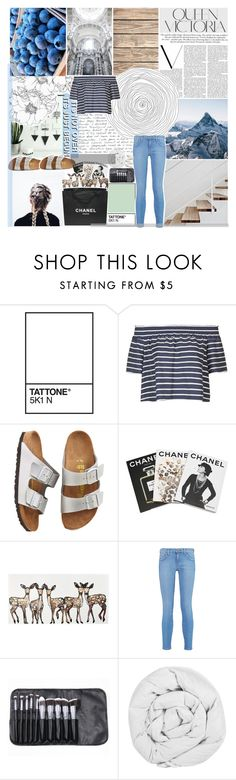 """""""WHAT ARE WE FIGHTING FOR // rock bottom"""" by vanilla-chai-tea ❤ liked on Polyvore featuring Victoria Beckham, Topshop, Birkenstock, Assouline Publishing, Current/Elliott, Chanel and The Fine Bedding Company"""
