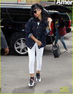 Rihanna wearing Celine Mini Boston Bag Nike Air Jordan 12 Retro Playoff Sneakers Goldsign Thrill Cropped Skinny Jeans Estevan Oriol Stripes...