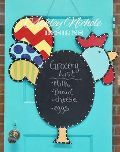 Chalkboard Rooster Door Hanger Door by DesignsAshleyNichole