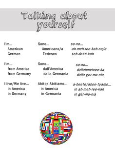 Talking about yourself in Italian from http://nativeitalian.tumblr.com