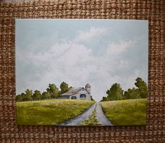 Original Acrylic Painting Front Porch and Hollyhocks Painting Farmhouse Style Painting