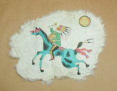 Lakota ledger art - handpainted on rabbit skin