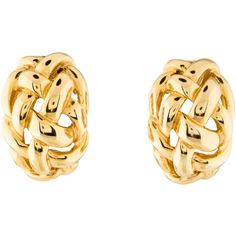 Pre-owned Kenneth Jay Lane Crossover Clip On Earrings ($45) ❤ liked on Polyvore featuring jewelry, earrings, clip earrings, gold tone jewelry, clip back earrings, gold colored earrings and gold tone earrings