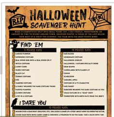 A dare based Halloween scavenger hunt is one of the most fun Halloween games for adults Halloween Games Adults, Halloween Food For Party, Family Halloween, Holidays Halloween, Halloween Treats, Halloween Celebration, Halloween Birthday, Halloween Activities, Scary Halloween
