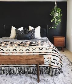 Currently obsessing over this matching black bed & statement wall 🖤This is proof that going bold makes for seriously stunning results! Home Bedroom, Bedroom Decor, Bedroom Ideas, Bedroom Setup, Bedroom Curtains, Bedroom Designs, Black Bedding, My New Room, Home And Living