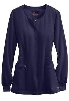 Grey's Anatomy Signature Round Neck Warm Up Scrub Jackets Stylish Scrubs, Greys Anatomy Scrubs, Scrub Jackets, Lab Coats, Womens Scrubs, Neck Warmer, Stay Warm, Grey's Anatomy, Long Sleeve