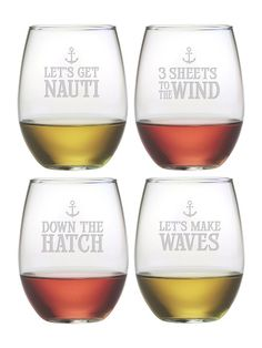 How clever are these Nautical Stemless Wine Glasses?   Perfect for your home bar, the boat or as a gift.