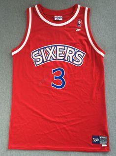 26fb6655378 Vintage SIXERS Jersey Rookie Allen IVERSON #3 Autographed 90s Reebok USA  Men L #Reebok #Philadelphia76ers