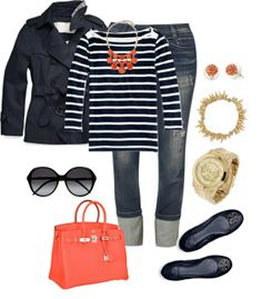 Blue white stripe top. Navy flats. Coral necklace