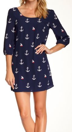 Anchor Print Dress by Love Zoe on I need this for the boat. Cute Dresses, Casual Dresses, Short Dresses, Anchor Print, Navy Anchor, Nautical Anchor, Nautical Fashion, Nautical Style, Fashion Moda