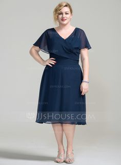A-Line/Princess V-neck Knee-Length Ruffle Zipper Up Sleeves Short Sleeves No 2016 Dark Navy Spring Summer Fall General Plus Chiffon Mother of the Bride Dress Mob Dresses, Plus Size Dresses, Fashion Dresses, Dresses With Sleeves, Short Sleeves, Bride Dresses, Peplum Dresses, Ivory Dresses, Vestidos Mob