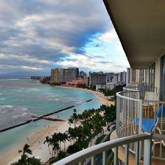 Oahu - A complete view of #Waikiki Beach from my balcony at the Aston Hotel.