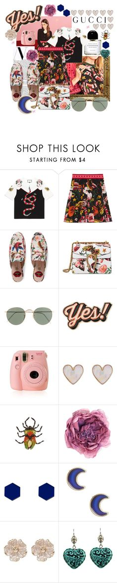 """""""Presenting the Gucci Garden Exclusive Collection: Contest Entry"""" by whenitsnotalright ❤ liked on Polyvore featuring Gucci, J.Crew, Anya Hindmarch, New Look, Wolf & Moon, claire's, River Island, Tarina Tarantino and gucci"""