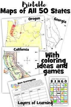 Free printable maps of all 50 states with ideas on how to color for elevation, population, rainfall, and more. Plus a State scattergories game and Bingo game. Us Map Printable, United States Map Printable, Printables, Us Geography, Teaching Geography, Us State Map, States And Capitals, Map Activities, Maps For Kids