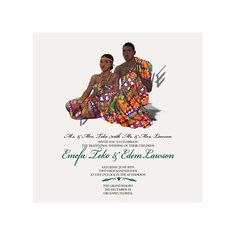 Colorful African Wedding Invitation and Save the Date representing Nigeria Ghana Togo Cote D'Ivoire more to come Wedding Party Invites, Custom Wedding Invitations, Wedding Stationery, Wedding Cards, Party Invitations, Wedding Shit, Ghana Traditional Wedding, Ghana Wedding, Zulu Wedding