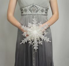 Wedding Flowers - Crystal Snowflake Bridal Bouquet - Winter or Christmas Wedding Bouquets