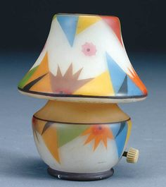 1070: A CZECH ART DECO NIGHT LAMP C. 1930, in satin gla : Lot 1070