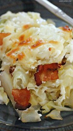 A delicious recipe for Twice-Cooked Cabbage with Sour Cream and Bacon that is Keto / Low Carb friendly.