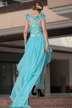 Fashion Skyblue Short Court train Embroidery Cocktail and Party Evening Dress Formal Dress,<3!