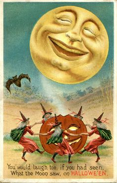 1910 Halloween Postcard Smiling Moon Witch Dance Jack O'Lantern Pumpkin Poem Bat | eBay
