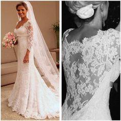 Weddings Long Sleeve Sheer Lace Mermaid Wedding Dress 2016 Sweetheart Applique Sweep Train Bridal Gowns