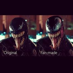 Fan-made is cool, but I prefer the original version. And this is coming from a life long fan of Spider-Man and Venom. I think the movie version is perfect. Venom Comics, Marvel Venom, Marvel Comics Art, Marvel Memes, Marvel Avengers, Superhero Villains, Marvel Villains, Marvel Characters, Spiderman Art