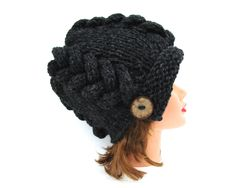 Charcoal Cloche - Black Hat With Button - Cable Knit Hat - Flapper Hat - 1920s…