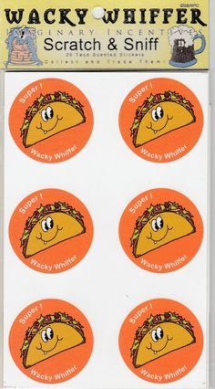 Wacky Whiffer Scratch and Sniff Stickers  Taco Scented MIP/Sealed ITM#008E3 #WackyWhiffer #ScratchSniff