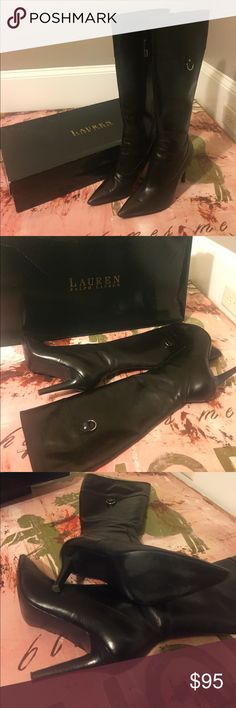 Lauren Ralph Lauren Long Boots Gabrielle Black Baby Calf Boots. Buckle on the outside and tassel connected to the zipper. Minor scuffs. 4 in heels. Lauren Ralph Lauren Shoes Over the Knee Boots