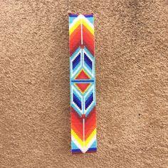 Fire Dance Bead Loom Bracelet Artisanal Jewelry by PuebloAndCo Loom Bracelet Patterns, Bead Loom Bracelets, Bead Loom Patterns, Peyote Patterns, Native Beading Patterns, Beadwork Designs, Loom Bands, Native American Beading, Seed Bead Earrings