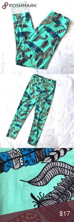 Lularoe leggings OS Lularoe leggings. One size. Overall great condition. Have a small very very faded discoloration as pictured. LuLaRoe Pants Leggings