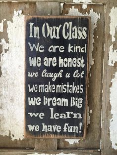 In Our Class - Classroom Rules Handmade Rustic Wood Sign by Prim Pickins