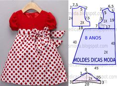 A publicação de hoje contempla o molde de vestido infantil de festa para meninas com idade de 8 anos. A ilustração do molde não tem valor de costura tem...                                                                                                                                                                                 Mais Kids Dress Patterns, Baby Clothes Patterns, Sewing Patterns For Kids, Clothing Patterns, Sewing Clothes, Doll Clothes, Baby Dress Design, Little Girl Dresses, Baby Sewing