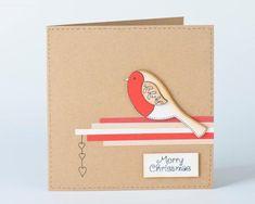 Rustic Christmas Card, Handmade robin card, Special card for gardeners, Festive Robin Redbreast, fun Cute Christmas Cards, Diy Holiday Cards, Merry Christmas Greetings, Xmas Cards, Rustic Christmas, Christmas Diy, Crafty Hobbies, Make Your Own Card, Card Making Kits
