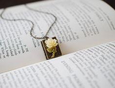 Book Locket Necklace. Antique Brass Book Locket, Ivory Rose Flower Locket. Librarian Book Locket, Book Worm, Book Lover by LeChaim on Etsy https://www.etsy.com/listing/107001806/book-locket-necklace-antique-brass-book